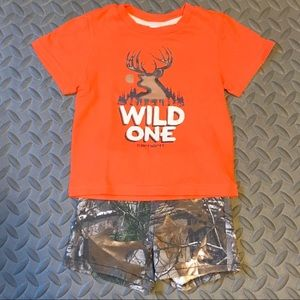 Carhartt Orange / Camo Outfit - Size 18 months